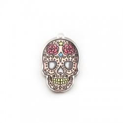Plexi Acrylic Pendant Skull w/ Flowers 24x35mm