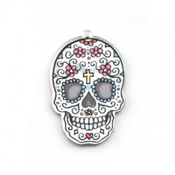 Pendentif tête de mort floral en Plexiacrylique 35x51mm