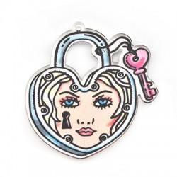 Πλέξι Ακρυλικό Μοτίφ Καρδιά Κλειδί Λουκέτο Κορίτσι 49x50mm