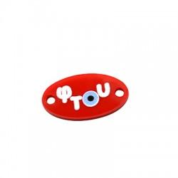Plexi Acrylic Connector Oval w/ Evil Eye 20x11mm