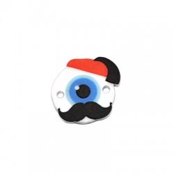Plexi Acrylic Connector Round Greek Guard w/ Evil Eye 17mm
