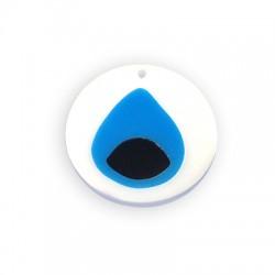 Πλέξι Ακρυλικό Μοτίφ Στρογγυλό με Μάτι 35x37mm/3mm