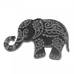Plexi Acrylic Pendant Elephant Ethnic 60x37mm (Ø 2.6mm)