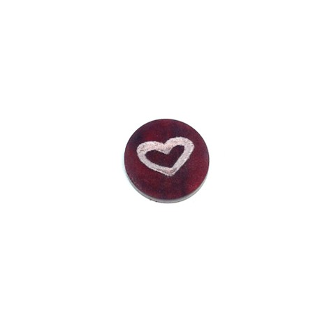 Plexi Acrylic Cabochon Round with Engraved Heart 15mm