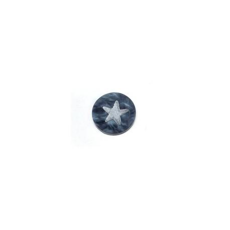 Cabochon Piatto in Plexiacrilico Rotondo 12mm con Stella Incisa