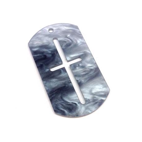 Ciondolo in Plexiacrilico Targhetta Militare 50x28mm con Croce