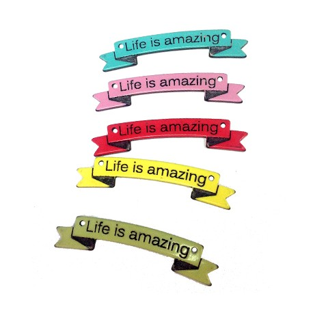 """Plexi Acrylic Tag with Engraved """"Life is amazing"""" with 2 holes 54x11mm"""