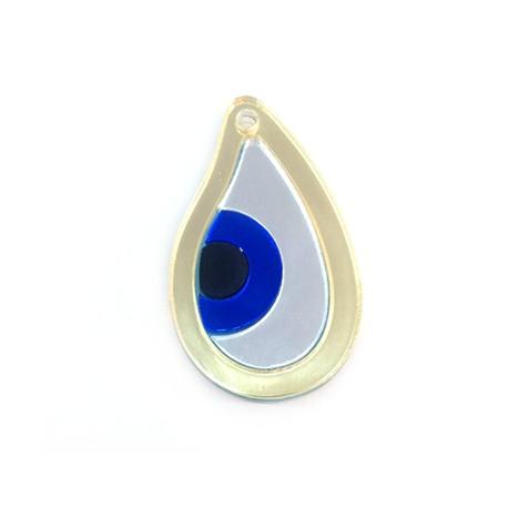 Ciondolo in Plexiacrilico Goccia con Occhio Portafortuna 35x21mm