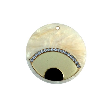 Plexi Acrylic Pendant Eye 40mm with Cup Chain