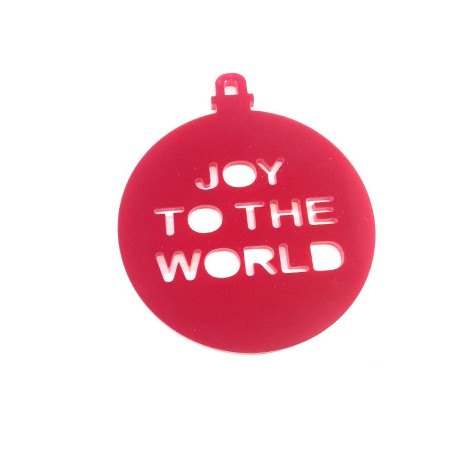 "Plexi Acrylic Pendant ""JOY TO THE WORLD"" 80mm"