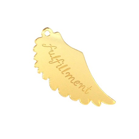 "Plexi Acrylic Pendant Feather ""fulfillment"" 52x23mm"