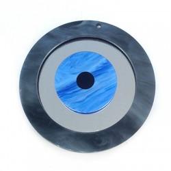 Pendentif rond en Plexiacrylique avec œil porte-bonheur 80mm