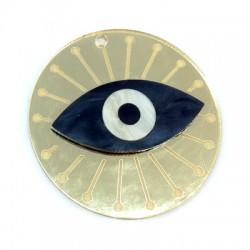 Ciondolo in Plexiacrilico Rotondo con Occhio Portafortuna 50mm