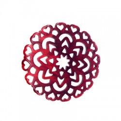Πλέξι Ακρυλικό Μοτίφ Λουλούδι Φιλιγκρί με Καρδιές 54mm