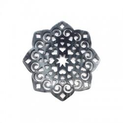 Πλέξι Ακρυλικό Μοτίφ Λουλούδι Φιλιγκρί με Καρδιές 59mm