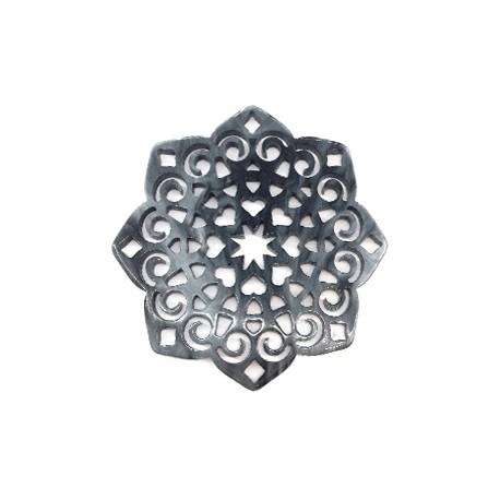 Plexi Acrylic Pendant Flower Filigree Hearts 59mm
