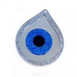 Ciondolo in Plexiacrilico Goccia con  Occhio Portafortuna 79x63mm