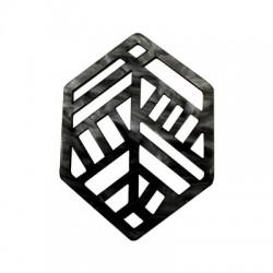 Plexi Acrylic Pendant Hexagon 53x39mm