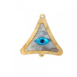 Intercalaire triangulaire en plexiacrylique 39x40mm avec œil porte-bonheur émaillé