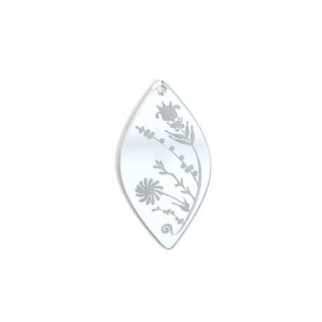 Ciondolo in Plexiacrilico Ovale con Fiori Incisi 49x26mm