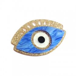 Pendentif ovale en Plexiacrylique avec œil porte-bonheur 35x50mm