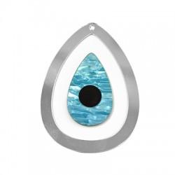 Ciondolo in Plexiacrilico Ovale con Occhio Portafortuna 90x66mm