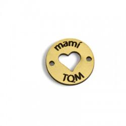 """Πλέξι Ακρυλικό Στοιχείο Στρογγυλό """"mami TQM"""" Καρδιά για Μακραμέ 20mm"""
