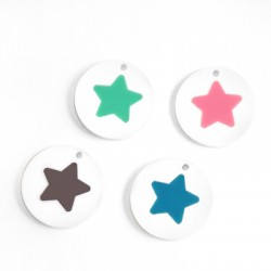 Plexy Acrylic Round Pendant Star 25mm
