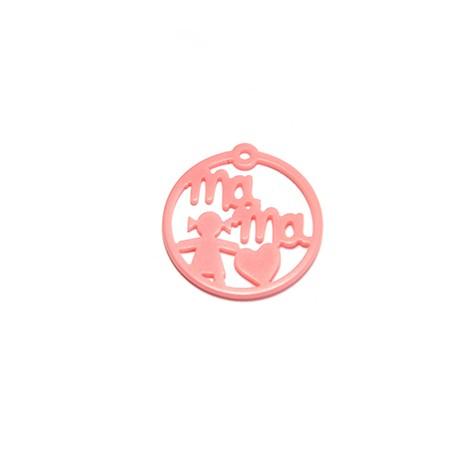 "Plexy Acrylic Round Pendant Girl ""MAMA"" 30mm"