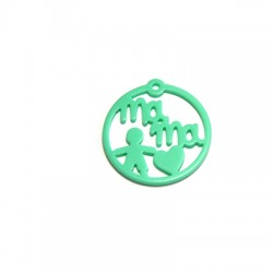 "Plexy Acrylic Round Pendant Boy ""MAMA"" 30mm"