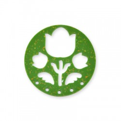 Plexi Acrylic Pendant Round Flowers 49mm