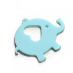 Plexi Acrylic Pendant Elephant w/ Heart 59x46mm