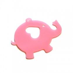 Plexi Acrylic Pendant Elephant w/ Heart 60x46mm