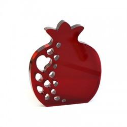 Plexi Acrylic Deco Pomegranate Hearts 76x90mm