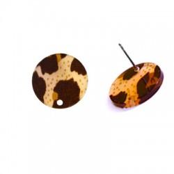 Πλέξι Ακρυλικό Σκουλαρίκι Στρογγυλό & Τρύπα με Καρφάκι 17mm
