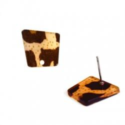 Πλέξι Ακρυλικό Σκουλαρίκι Τραπέζιο & Τρύπα με Καρφάκι 14x15mm