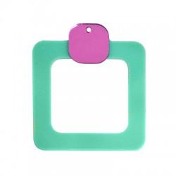 Plexi Acrylic Pendant Square Hollow 50x57mm