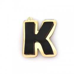 "Plexi Acrylic Pendant Letter ""K"" 35x40mm"