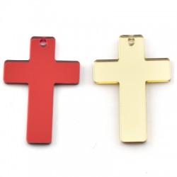 Plexi Acrylic Pendant Cross 35x50mm