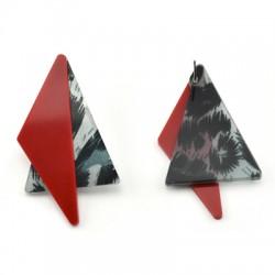 Πλέξι Ακρυλικό Σκουλαρίκι Γεωμετρικό Τριγωνικό Σετ 31x55mm