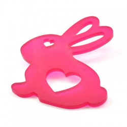 Plexi Acrylic Pendant Bunny Heart 62x70mm