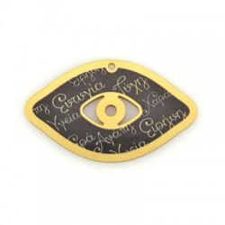 Plexi Acrylic Pendant Eye Wishes 69x41mm