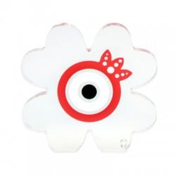Plexi Acrylic Deco Four Leaf Clover Pomegranate Eye 85mm