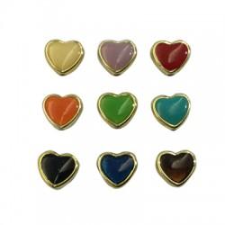 Ακρυλικό Επιμεταλλωμένο Στοιχείο Καρδιά Περαστό 12x13mm