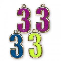 Ακρυλικό Επιμεταλλωμένο Μοτίφ με Σμάλτο Αριθμός ''3''