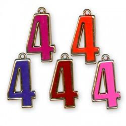 Ακρυλικό Επιμεταλλωμένο Μοτίφ με Σμάλτο Αριθμός ''4''