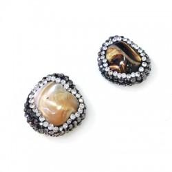Perla di Madreperla Irregolare con Strass 18mm
