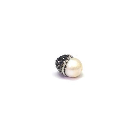 Perla d'Acqua Dolce con Copriperla con Strass ~14x19mm