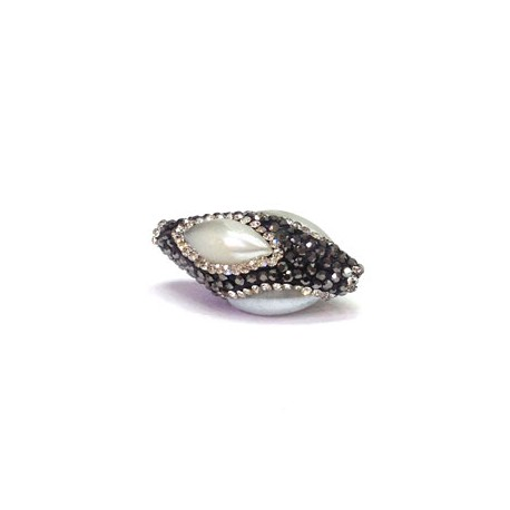 Fresh Water Pearl Bead Oval with Stones ~15x31mm