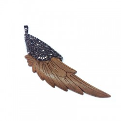 Wooden Pendant Feather With Strass 23x73mm